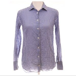 J.CREW Gingham Crinkled Button Down Shirt